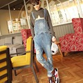 2016 New Men's Denim Jeans Blue Overalls Bib Jeans CasualMale Suspenders  Jumpsuits Boyfriend Jeans OR06