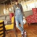 2016 dos homens Novos Denim Jeans Azul Jardineira Suspensórios Macacões Jeans Boyfriend Jeans CasualMale OR06