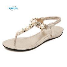 8f6c4e871 2018 novo Boêmio sandálias flip-flop de strass sapatos mulher selvagem  Coreano estudantes Sandálias sandálias flat mulheres verã.