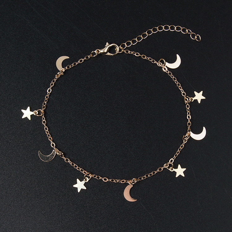 2018 New Arrival Gold Silver Moon Star Charms Bracelet For Women Fashion Accessories Bracelets