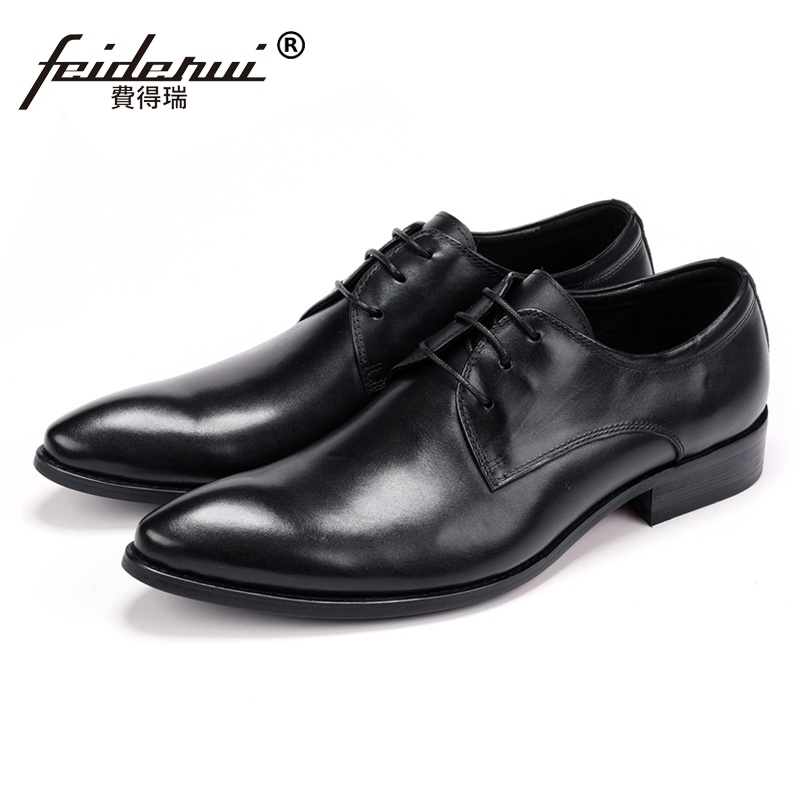 Italian Designer Man Derby Formal Dress Wedding Shoes Genuine Leather Handmade Pointed Toe Lace up Men's Party Footwear JS119 hot sale mens genuine leather cow lace up male formal shoes dress shoes pointed toe footwear multi color plus size 37 44 yellow