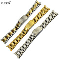 ZLIMSN 13mm 17mm 20mm Silver Gold Rose Gold Stainless Steel Watchbands Watch Band Bracelets Curved end Watchband Replacement