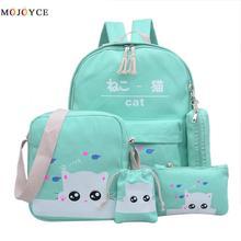 Новый милый кот рюкзаки для подростков школьная сумка для комплект для девочки зеленый рюкзак подростков мятно-зеленый Япония корейский Back Pack