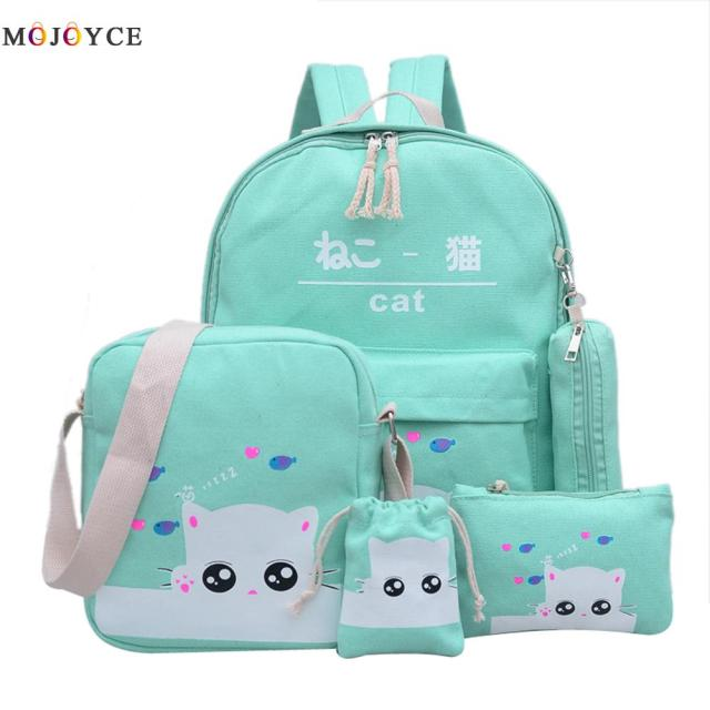 New cat cute backpacks for teenager school bag for girls set green ...