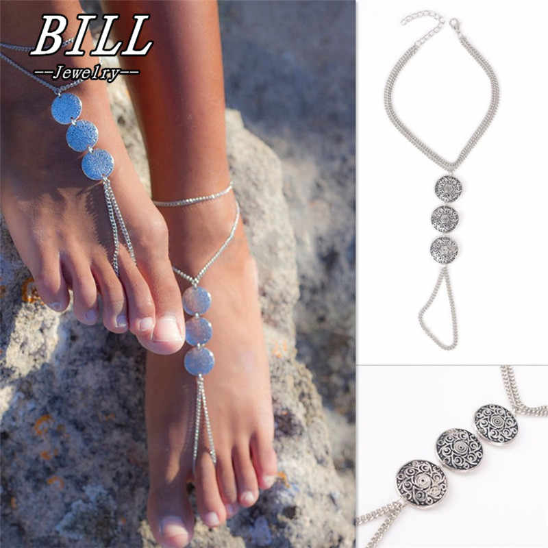 SL155 Boho Silver Plated Totem Coins Pendant Toe Cycle Multi Layer Chain Link Anklets Bracelet Foot Jewelry For Women HOT Sale