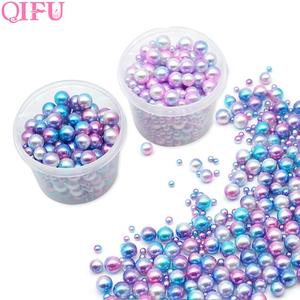 Image 1 - 250pcs Plastic Gradient Pearls DIY Wedding Party Supplies Manicure Pearls Mermaid Party Necklace Jewelry Earring Pendant Decor