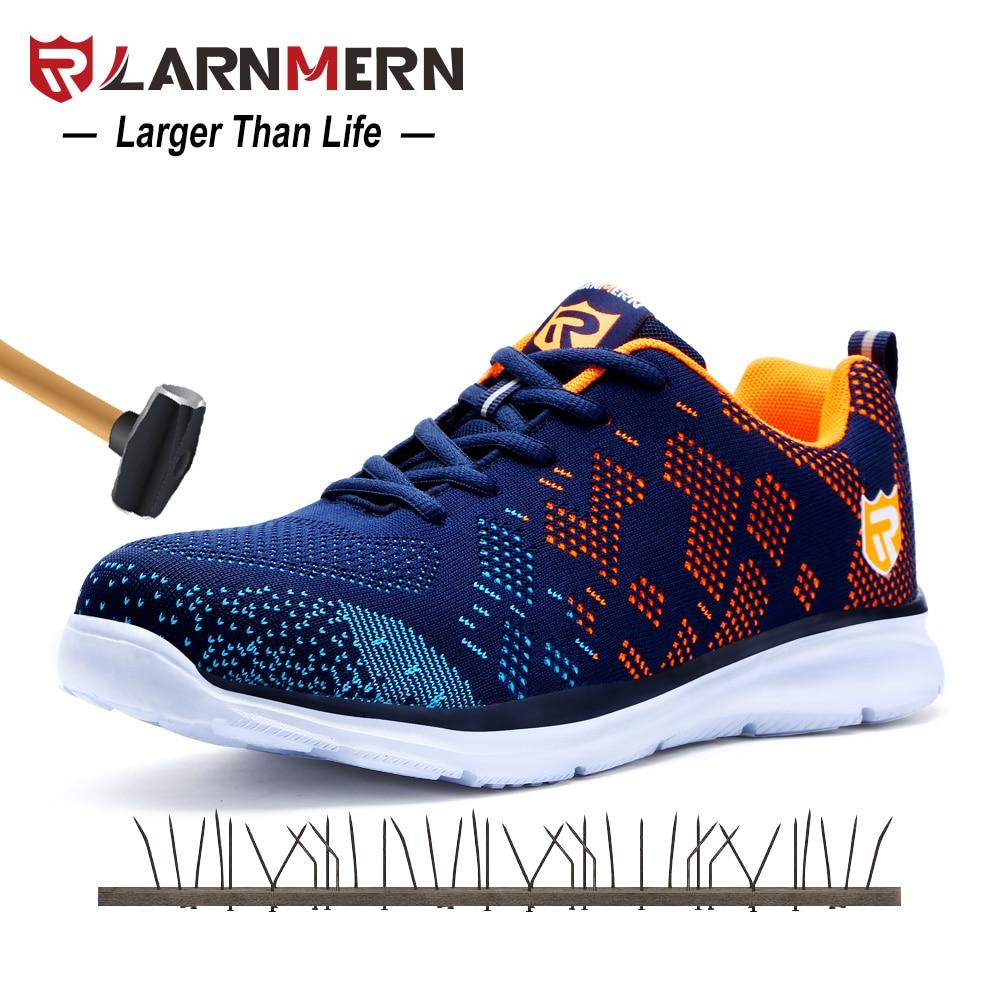 LARNMERN летние легкие дышащие Flyknit Мужская безопасная обувь со стальным носком рабочие анти-разбивающиеся повседневные кроссовки со светоотр...