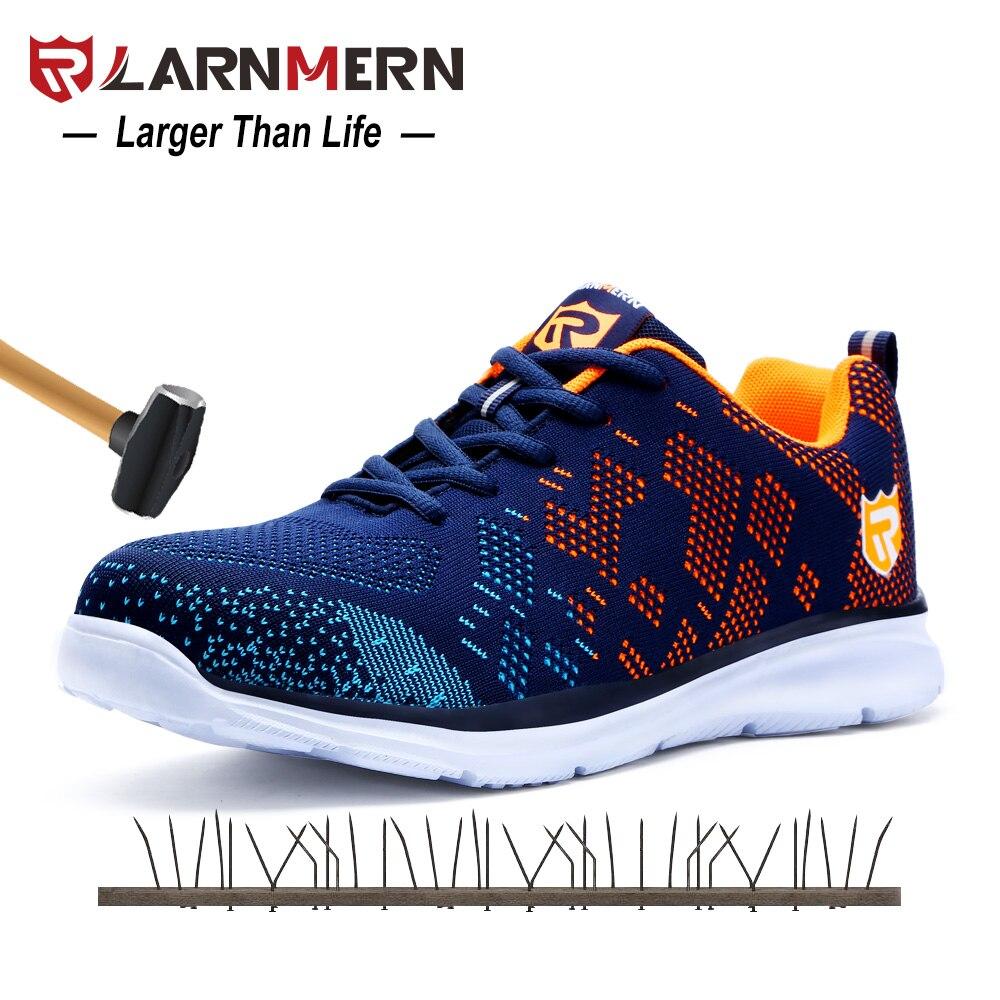 LARNMERN летний легкий дышащий Материал Flyknit Для мужчин безопасная обувь Сталь Toe работа анти-разбив Повседневное тапки со светоотражающим