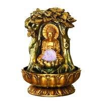 110 V/220 V счастливый будда статуя струящиеся фонтаны воды Гостиная Офис Настольный фэн шуй фонтан украшение на стол для дома украшения