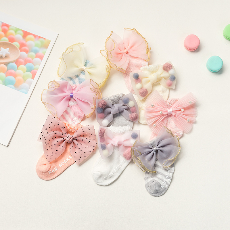 Summer Newborn Socks Non-slip Dispensing 0-6-12 Month Bow Full Cotton Baby Girl Thin Socks Big Bow Lace Pearl Decoration