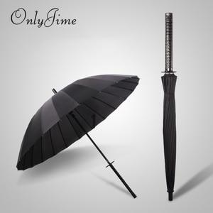 Image 1 - Sólo Jime paraguas espada de samurái hombres de calidad a prueba de viento y resistente paraguas grande bastón largo mango Katana de moda paraguas negro