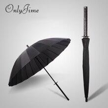 Sadece Jime samuray kılıcı şemsiye erkek kaliteli güçlü rüzgar geçirmez büyük şemsiye kamışı uzun saplı moda Katana şemsiye siyah