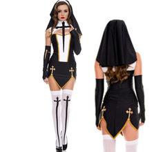 Nova alta qualidade sexy freira traje adulto cosplay vestido com capuz preto para halloween irmã cosplay festa traje