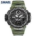 Мужские наручные часы Smael  спортивные часы армейского зеленого цвета  водонепроницаемые  с двойным временем  8014  2019
