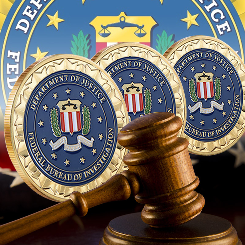 Partihandel Novelty Colorful Pure Gold Plated Mynt av US Department of Justice Amerikanska FBI Metal Challenge Coin For Gift