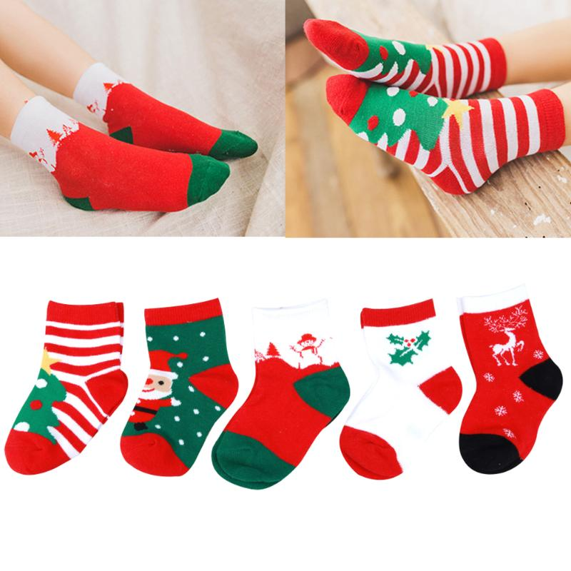 5Pairs/Lot Kids Christmas Cartoon Cotton Socks Snowflake Deer ...