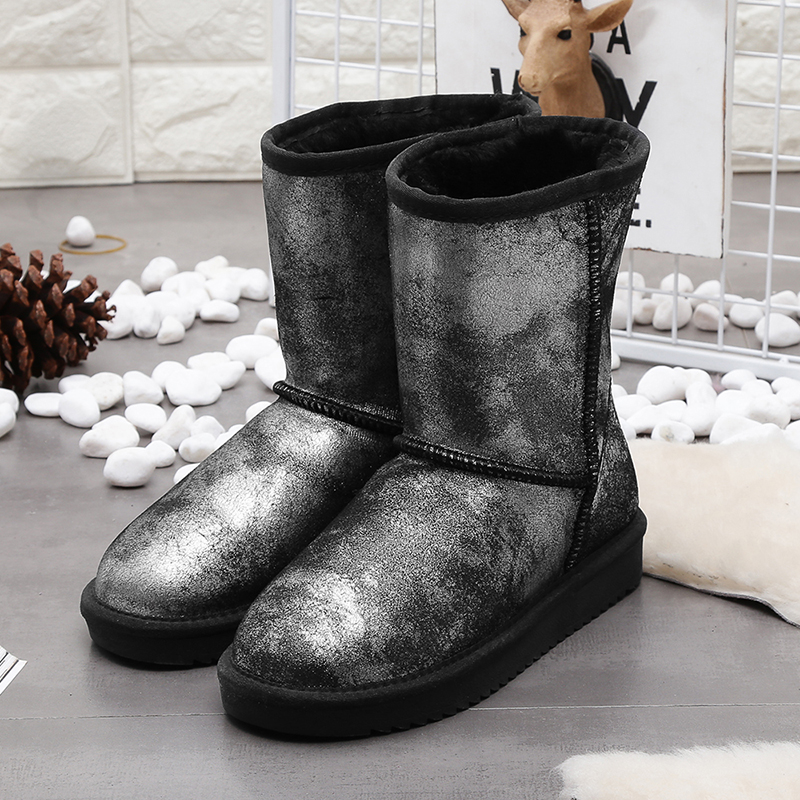 100% real cowhide leather winter snow boots for women genuine sheep fur natural wool winter women shoes high quality black 35-44 цены