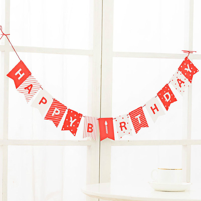 PMYUMAO Happy Birthday Banner Chic White Red Party Decorations