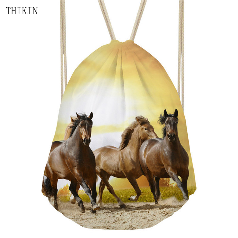 THIKIN Sports Bag Women's Horse Printed Backpack Swimming Small Shopping Drawstring Pouch Kids Girls Logo Custom Beach Bolsos