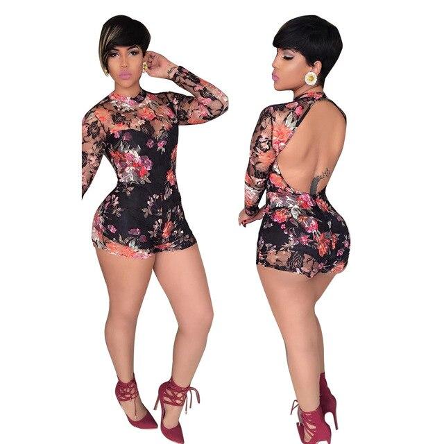 2017 mujeres de verano de los mamelucos del mono negro 3D flores imprimir body sexy sin respaldo de manga larga catsuit monos MC5204