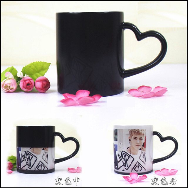DIY Photo Magic Color Changing Coffee Mug custom your photo on Tea cup Black color best gift for friends 2
