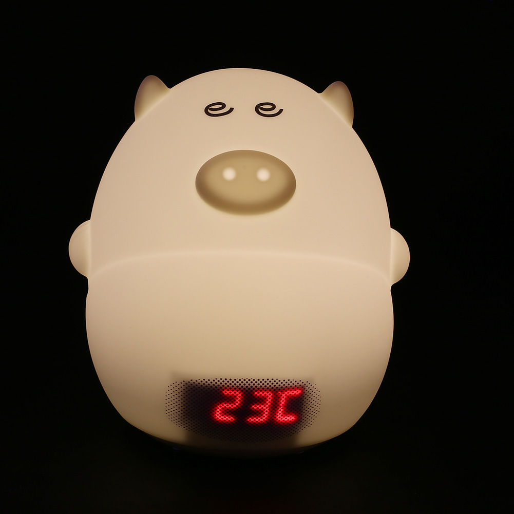 Lovely Cute Pig LED Night Light Sound Control With Alarm Clock USB White