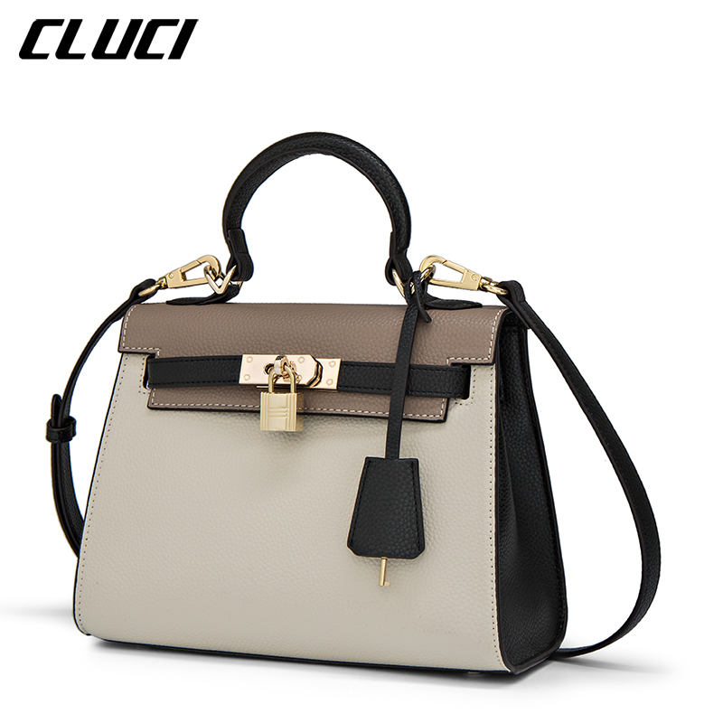 цена CLUCI Fashion Brand Luxury Handbags Women Bags Designer Khaki PU Shoulder Crossbody Bag for Lady Elegant Handbags bolsa feminina