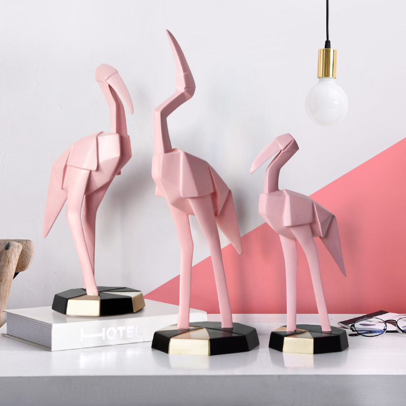 Nordic crafts table decoration Creative resin flamingo figurine home decor accessories modern furnishings miniature garden in Figurines Miniatures from Home Garden