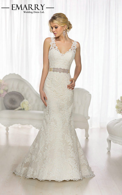Sophisticated Mermaid Wedding Dresses 2016 Crystals V Neck Ruched Ruffles Backless Lace Up Court