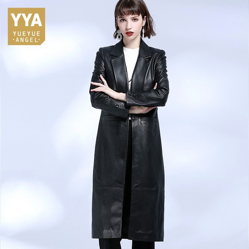 Korean New Fashion Autumn 2018 Womens Long Jackets Single Button Slim Luxury High Quality Coat Streetwear Genuine Leather Jacket