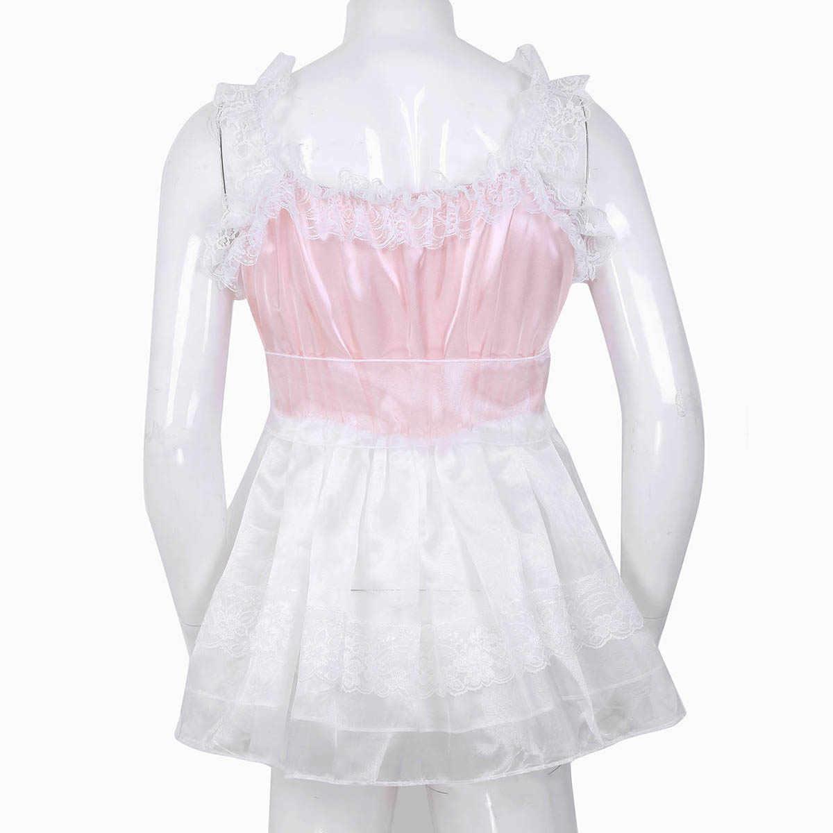 Người Lớn Bé Nam Ẻo Lả Babydoll Túi Đeo Chéo Nữ Xù Ren Đầm Voan Với Dây Lưng Đồng Tính Nam Clubwear Trang Phục Hóa Trang