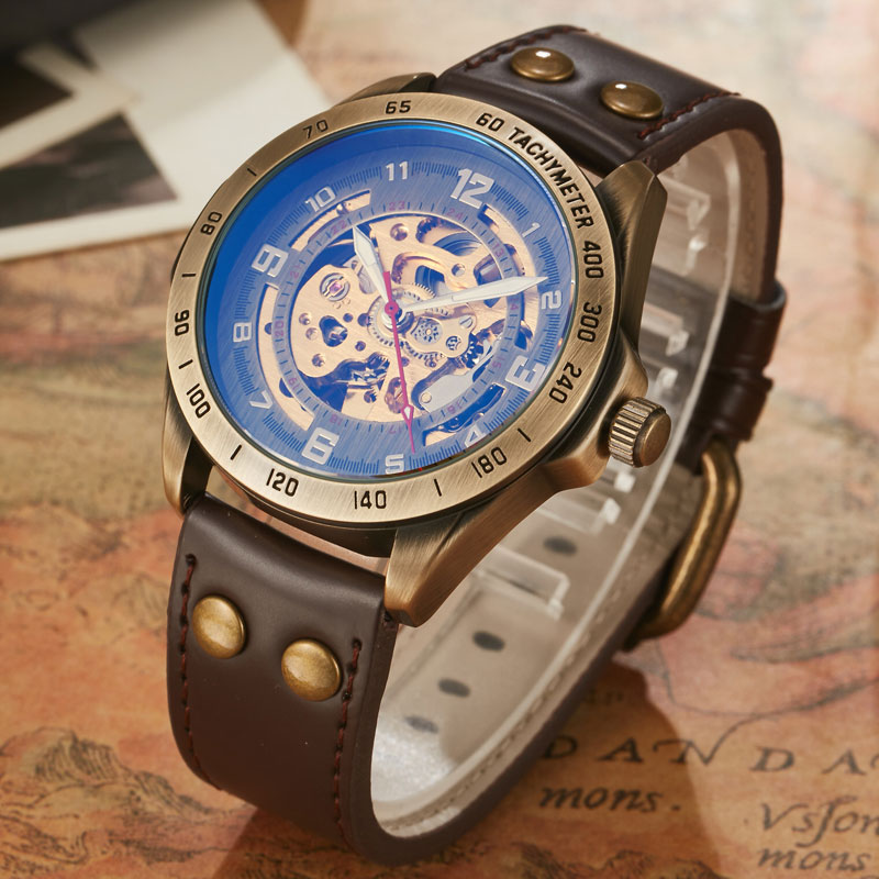 SHENHUA Watches Men Retro Bronze Case Wristwatch Male Automatic Mechanical Skeleton Watch Leather Sport Watch Relogio MasculinoSHENHUA Watches Men Retro Bronze Case Wristwatch Male Automatic Mechanical Skeleton Watch Leather Sport Watch Relogio Masculino