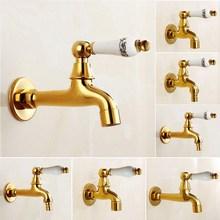 купить Golden Brass Ceramic handle washing machine faucet Garden Water Tap and Mop Pool Faucet Outdoor Faucet Garden Bibcock Tap KD062 по цене 797.21 рублей