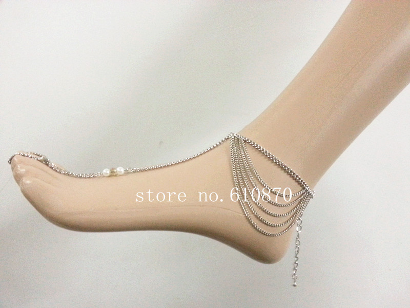 ladies womens chains inch chain women sterling uk anklets amazon s bracelet beaded double anklet silver co b ankle