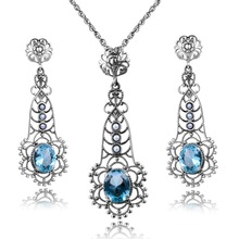 Sapphire Jewelry 2016 Natural Pearl Women for Jewelry Sets for Party 925 Sterling Silver Vintage Pendant Earrings Sets Wholesale