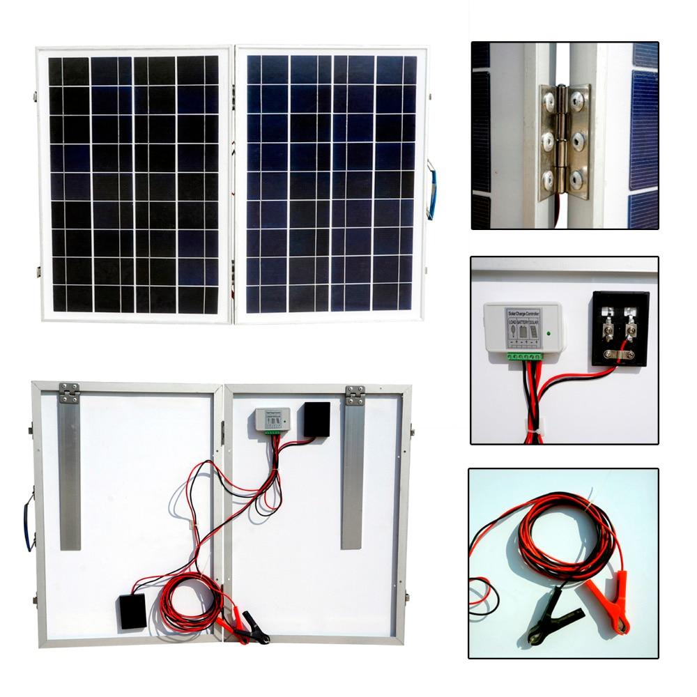 50W 18V Poly Folding Foldable Solar Panel  2*25W Poly Folding solar panel for  12v battery,  car, RV,camping,boat,free shipping микроскоп мегеон 33001