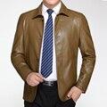 Весна Осень Тонкий Кожаная Куртка Мужчины Высокого Качества Мода Однобортный Кожаное Пальто Jaqueta Masculina Плюс Размер M-3XL