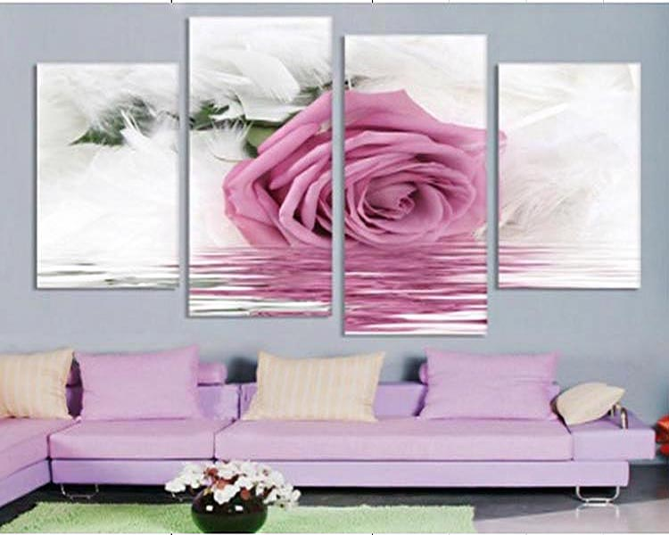 Purple Orchid Flower Bamboo Stone 5 Pieces Art Work Canvas Prints ...