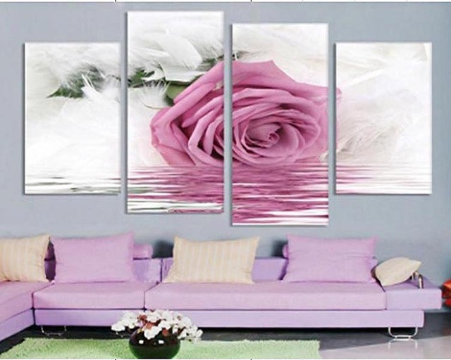 4 Pcs Frame Pink roses Wall Art Picture Modern Home Decoration ...
