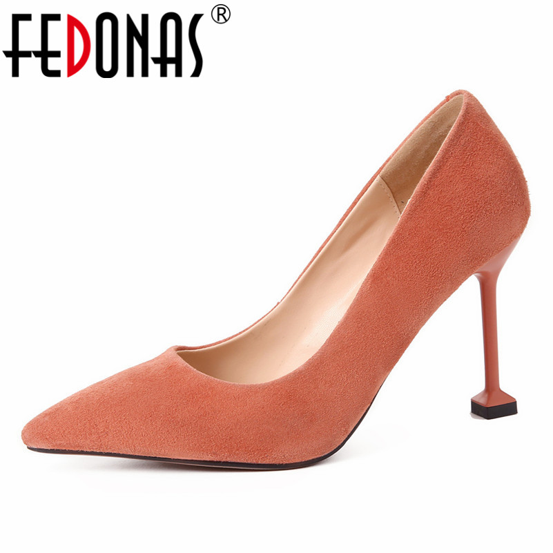 FEDONAS 2019 New Basic Pumps Slip On Four Season Suede Leather Shoes Woman High Heels Pointed Toe Wedding Party Shoes New PumpsFEDONAS 2019 New Basic Pumps Slip On Four Season Suede Leather Shoes Woman High Heels Pointed Toe Wedding Party Shoes New Pumps