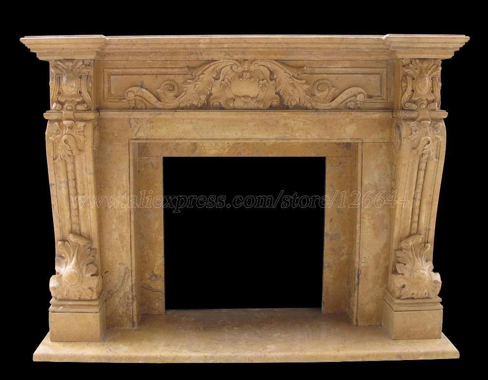 carved stone fireplace surround English style hearth