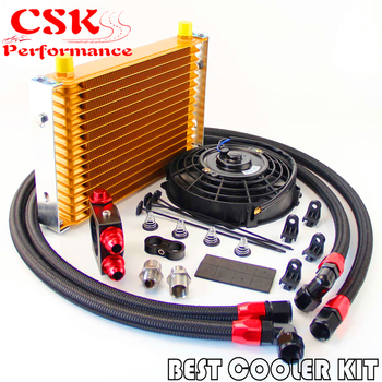 "15 Row Trust Oil Cooler Thermostat Sandwich Plate Kit+7"" Electric Fan kit Gold / Black / Silver"