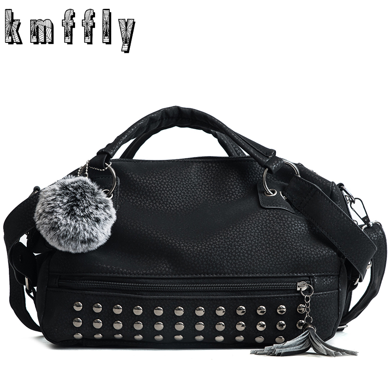 Fashion 2018 Women Handbag High Quality Leather PU Ladies Rivet Samll Shoulder Bag Messenger Bag Tassel Handbags with Hairball 2017 spring fashion new handbags high quality pu leather women bag rivet flower chain shell bag sweet ladies lace shoulder bag
