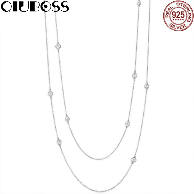 QIUBOSS TIFF 925 Sterling Silver Elegant Zircon Drop Necklace Ladies Glamour Fashion Clavicle Zirconia Clavicle Chain