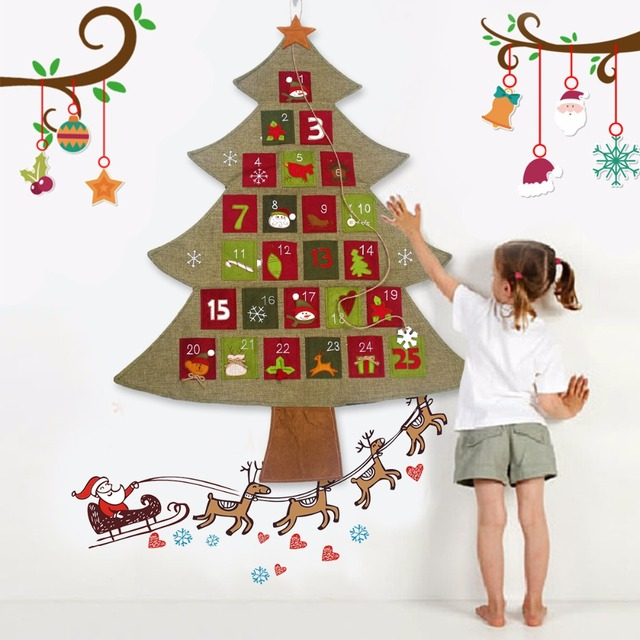 fengrise christmas advent calendar hanging felt xmas countdown calendar christmas decorations for home happy new year
