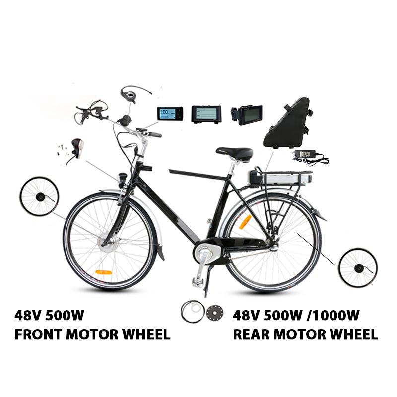 Flash Deal 48V 20ah Battery 48V 500W Electric Bike Conversion Kit with Battery Brushless Hub Motor Wheel bicicleta electrica E-bike Kit 1