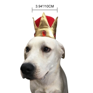High Quality Dogs King Gold Crowns Costume Accessories dog caps For Royal Kingdom Party Theme And Birthday Party(China)
