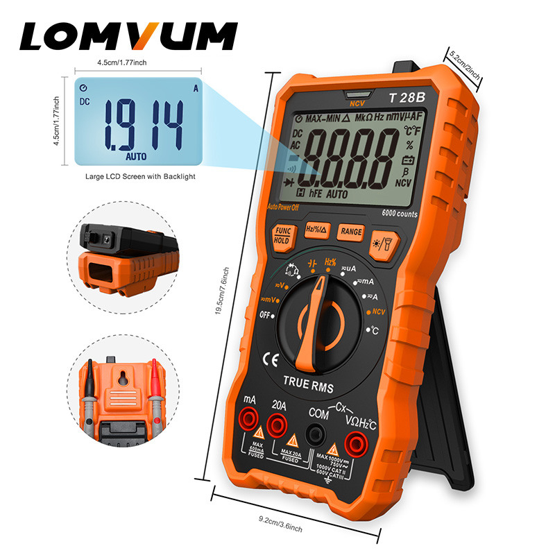 LOMVUM Digital Multimeter Auto-Ranging 6000 Counts Display Multimeter Tester 2 Probes Voltage Current Capacitance Measuring