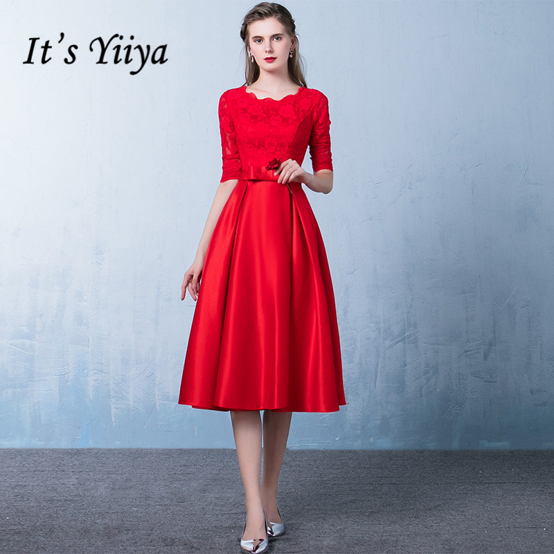 It's Yiiya 2018 Popular Red O-Neck Half Sleeve Evening Dresses Fashion Bow High Quality Vintage Formal Dress LX334