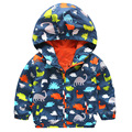 Baby Boys Hooded Coats For Spring Autumn Children Double-deck Cartoon Dinosaur Windproof Toddler Kids Outwear Zipper Jackets X17